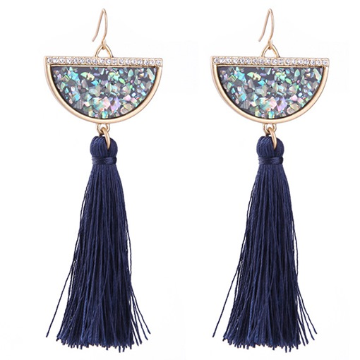 Semi Round Artificial Gemstone with Long Tassels Earrings