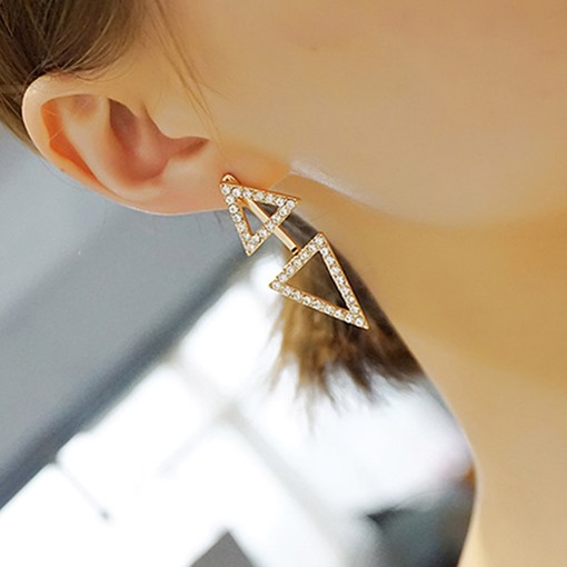 Double Diamante Triangle Design Stud Earrings