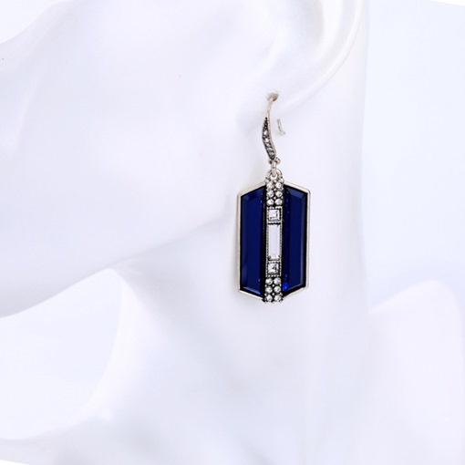 Geometry Blue Gemstone Design E-Plating Pendant Earrings