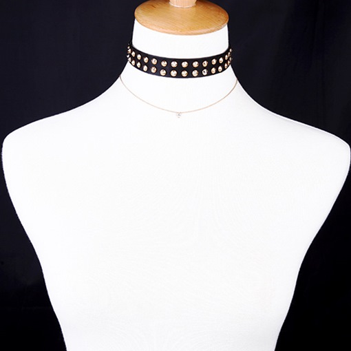 Rivets Decorated Alloy Multilayer Choker Necklace