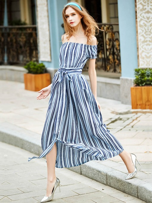 Stripe Off Shoulder Pocket Lace Up Women's Maxi Dress