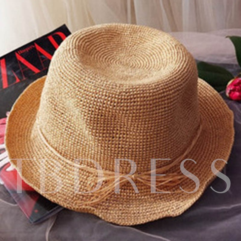 Pure Color Straw Plaited Article Summer Hat
