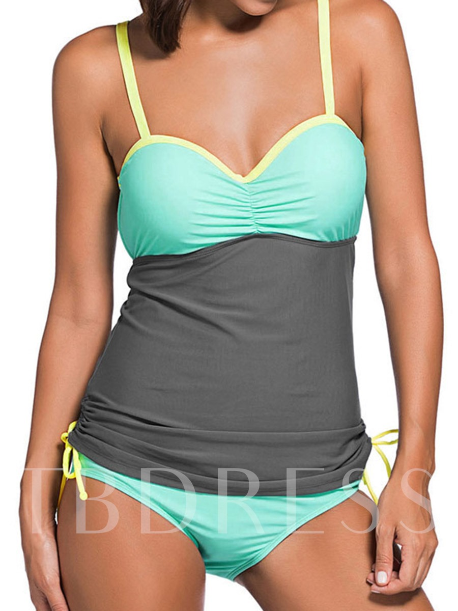 Color Block Spaghetti Strap Patchwork Tankini