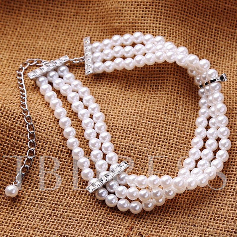 Three Layers Short White Artificial Pearls Necklace