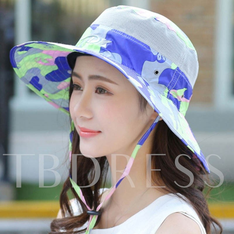 Camouflage Printed Sunscreen Veil Design Women's Sun Hat