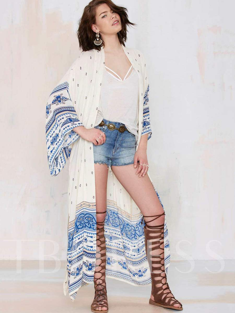 Bohemian Floral Long Sleeve Cover-Up