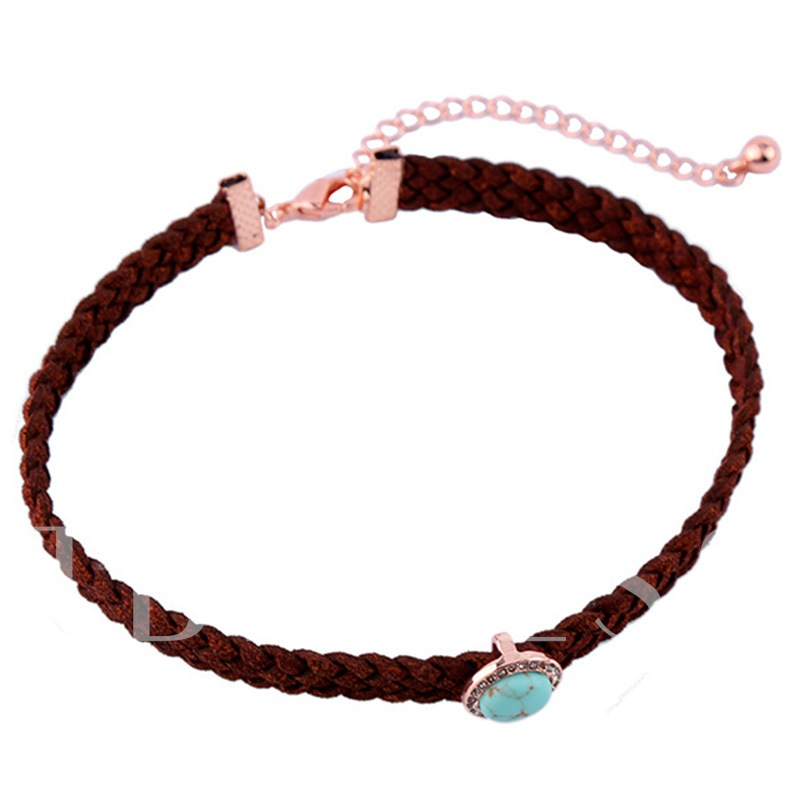Imitation Turquoise Inlaid Coffee Weave Necklace