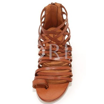 Brown Clip Toe Strappy Flat Sandals