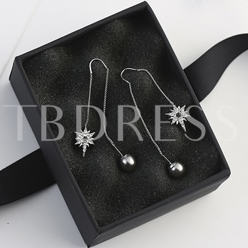 Gray Beads Zircon Star Design All-Matched Women's Earrings