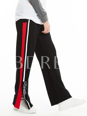 Loose Patchwork Lace-Up Wide Legs Pants