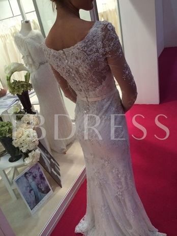 Beaded Sashes Long Sleeves Scoop Neck Wedding Dress