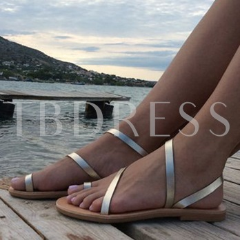 Simple Silver Strappy Flat Sandals