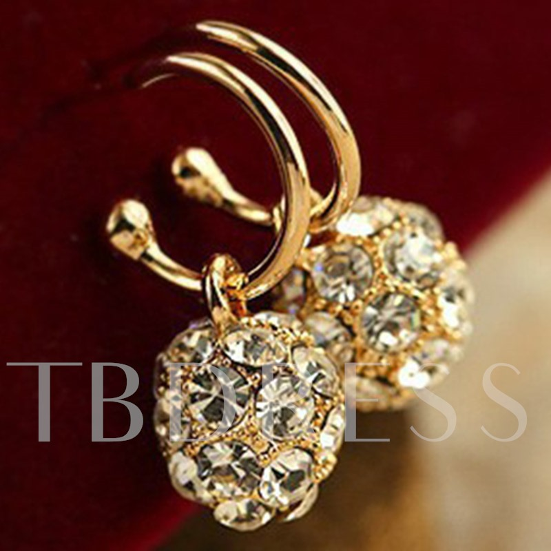 Full Rhinestone Spherical Shiny Earrings