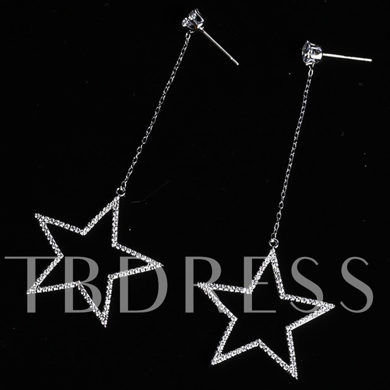 Rhinestone Five-Pointed Star Long Pendant Earrings
