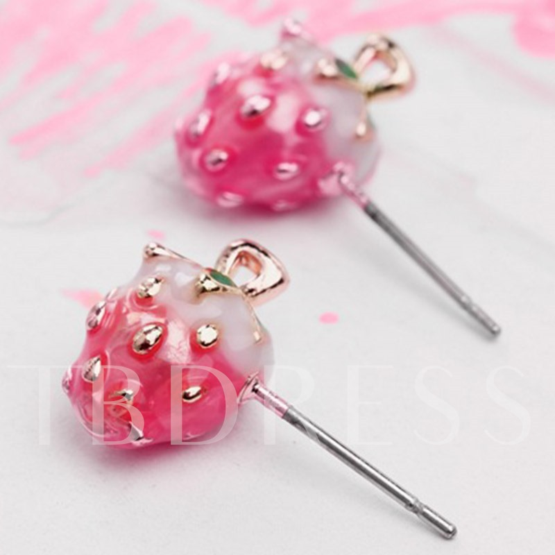 Sweet Pink Strawberry Stud Earrings