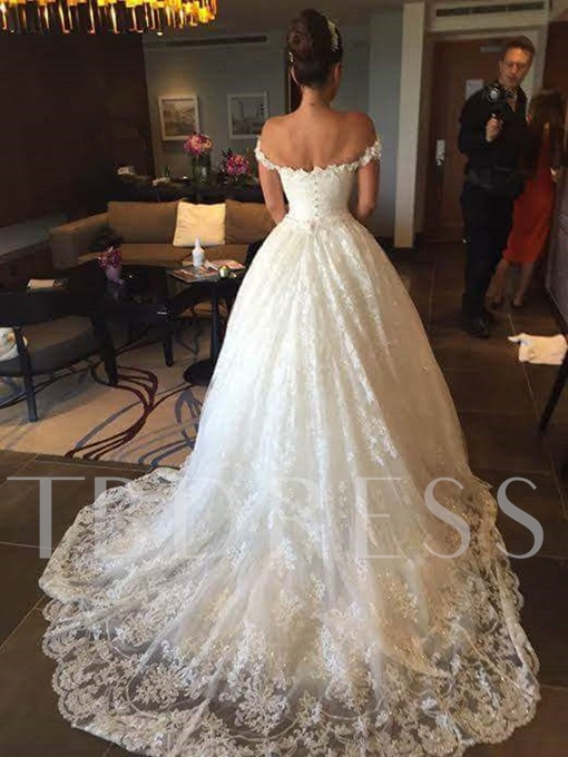Ball Gown Appliques Off the Shoulder Wedding Dress