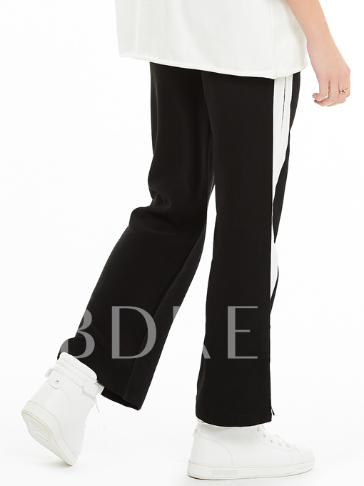 Loose Stripe Patchwork Wide Legs Women's Pants