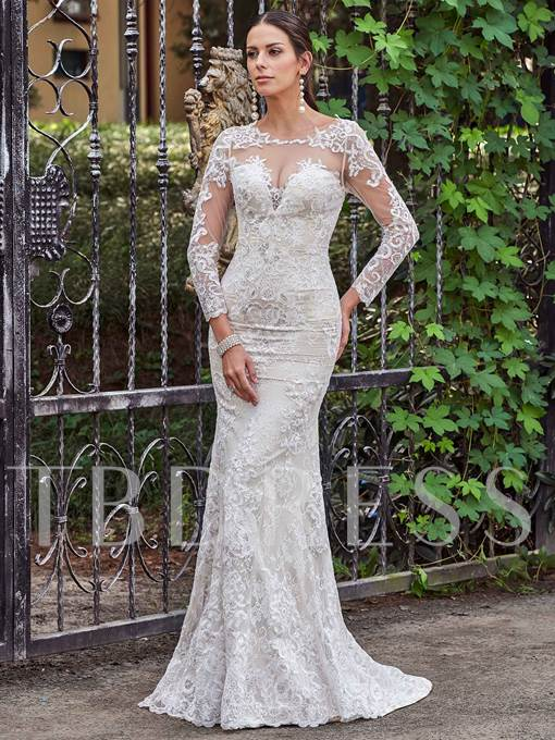 Long Sleeve Button Mermaid Lace Wedding Dress