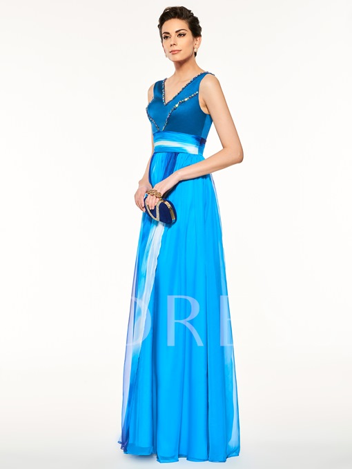 V-Neck Beading Ruched A-Line Mother Of The Bride Dress