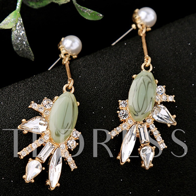 Green Artificial Gems Inlaid Rhinestone Earrings