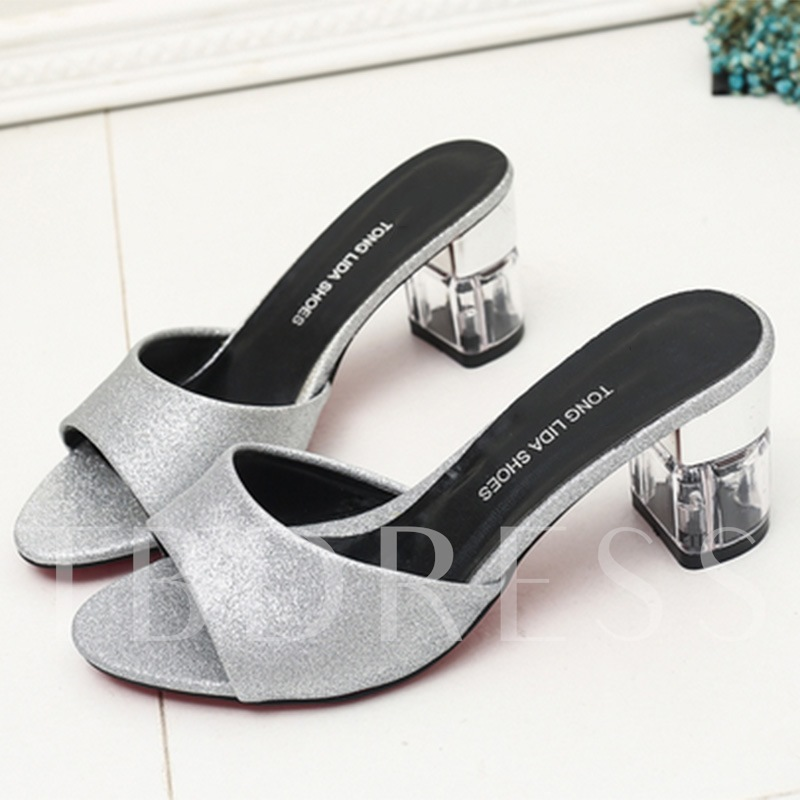 Chunky Heel Slip-On Sequins Women's Sandals