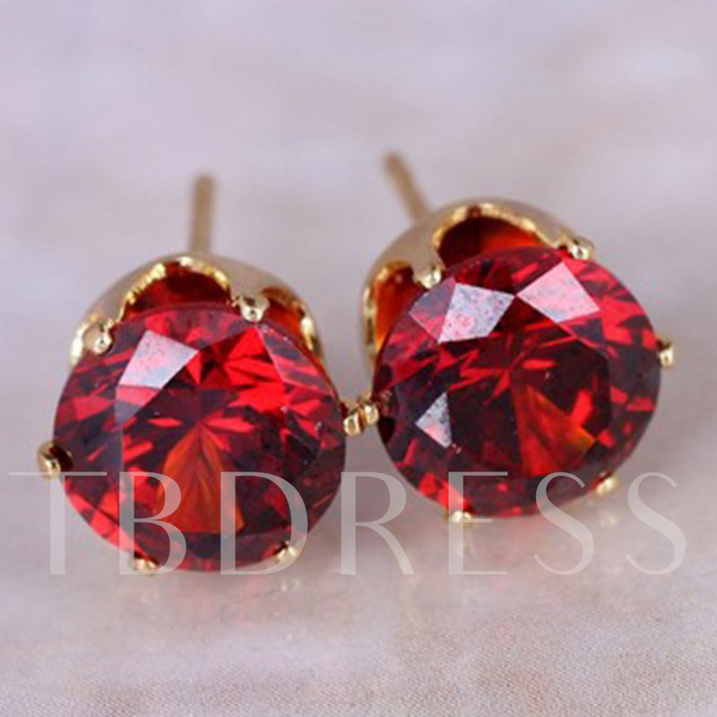 Colorful Round 8mm Zircon Simple Stud Earrings