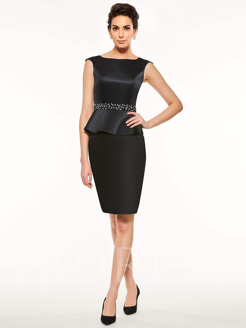 Black Beading Zipper-Up Sheath Mother Of The Bride Dress
