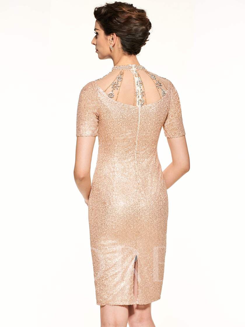 High Neck Sequins Short Sleeves Mother Of The Bride Dress