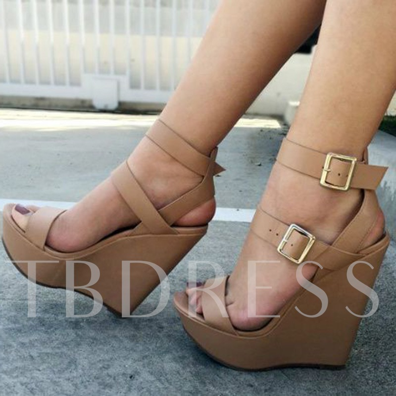 Double Buckles Thick Platform Wedge Sandals