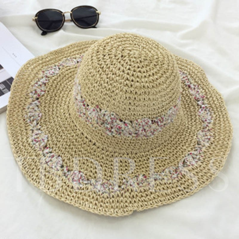 Double Rows Floral Foldable Design Straw Hat