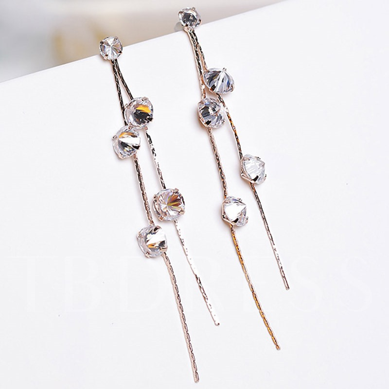 Long Zircon 925 Silver Needle Women's Tassels Earrings