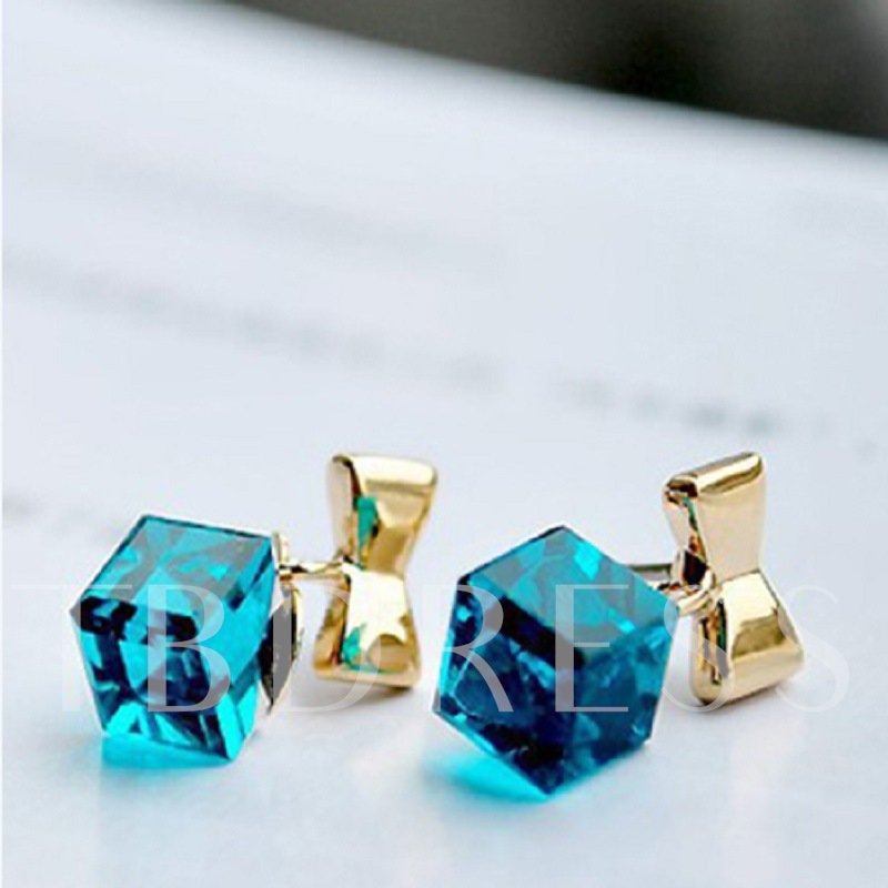 Glittering and Translucent Rhinestone Square Bowknot Earrings