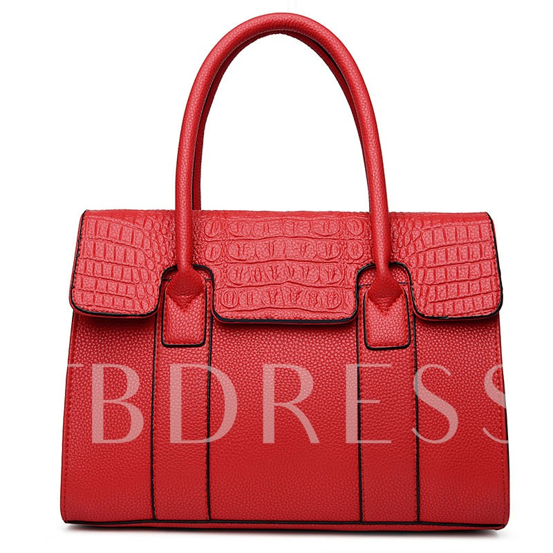 Crocodile Embossed Platinum PU Tote Bag