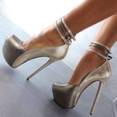 Platform Line Buckle Women's Sexy Chic Party Metallic Shoes
