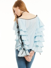 Loose Flare Sleeves Lace-Up Plain Blouse