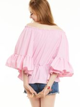 Slim Pleated Plaid Bell Sleeves Blouse