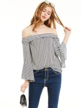 Slim Stripe Off Shoulder Bell Sleeves Blouse