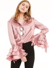 Single-Breasted Lapel Layered Bell Sleeve Women's Blouse
