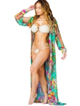 Bohemian Floral Printed Long Split Sleeve Cover Up