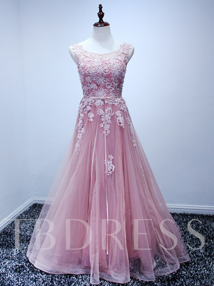 Image of A-Line Appliques Sleeveless Scoop Lace-Up Floor-Length Prom Dress