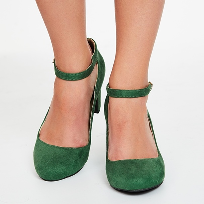 Greenery Round Toe Ankle Wrap Chunky Heels