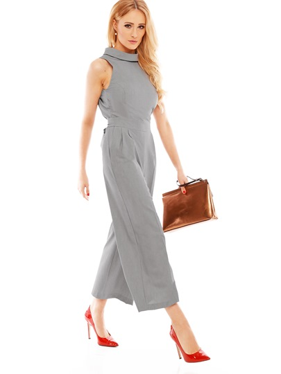 Solid Color Backless Bowknot Women's Jumpsuit