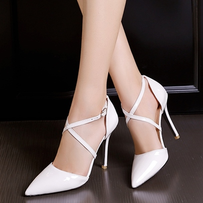 Pointed Toe Cross Buckle Plain Women's Pumps