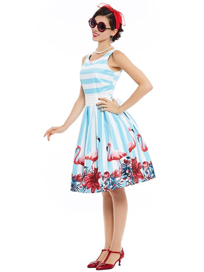 Light Blue Striped Printing Women's Skater Dress