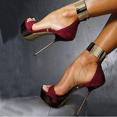 Red Suede Stiletto Heel Women's Sandals