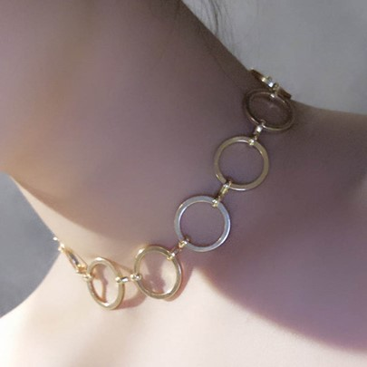 Copper Circle Beading Choker Necklace for Women