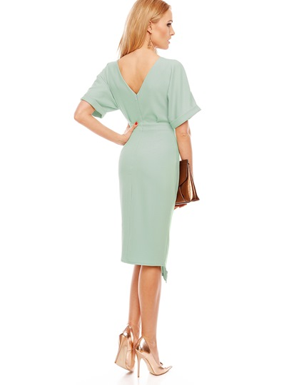 Plain Zipper Backless Wear to Work Women's Sheath Dress