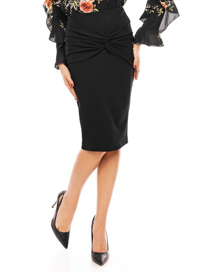 Black High-Waist Bowknot Pleated Women's Skirt