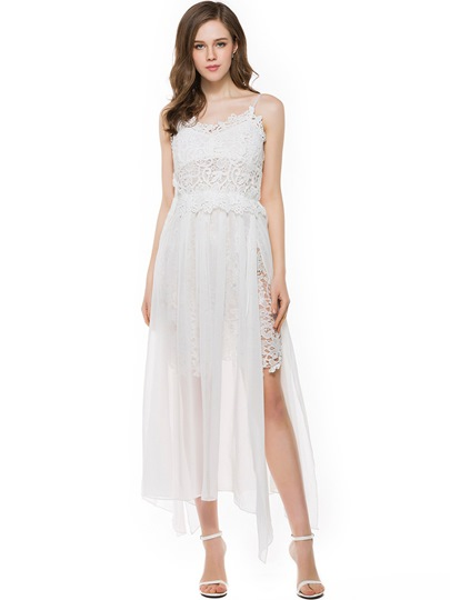 White Backless Lace Patchwork Women's Maxi Dress