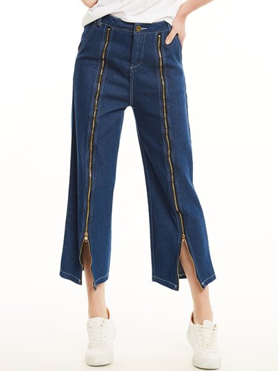 Denim Blue Zipper Loose Women's Jeans